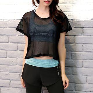 Yoga Set : Sheer Short-Sleeve Top + Bra Top + Pants 1059649053