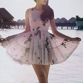Sleeveless   Chiffon   Floral   Dress