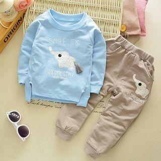 Kids Set: Elephant Print Sweatshirt + Pants 1053024163