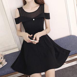 Mesh Panel Cut Out Shoulder A-Line Dress 1060928666