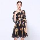 Elbow-Sleeve Printed Dress 1596