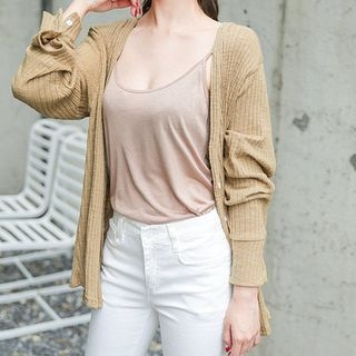 V-Neck Ribbed Cardigan 1061574974