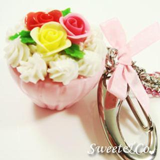 Pink XL Rose Cupcake Handbag Charm
