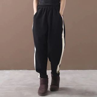 Image of Contrast Detail Harem Pants As Shown In Figure - One Size