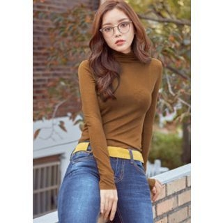 Turtle-Neck Wool Blend Slim-Fit Top 1062925485
