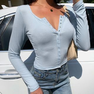 Image of Button Long-Sleeve Cropped T-Shirt
