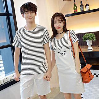 Couple Matching Stripe Short-Sleeve T-shirt / Pinafore / Shorts