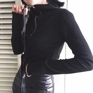 Plain Half Zip Long Sleeve Top 1057460727