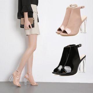 Faux-Leather Block Heel Sandals 1064558124