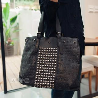 Embossed-Skull Studded Tote