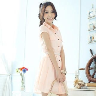 Buy Tokyo Fashion Short-Sleeve Pleated Shirtdress 1023065262