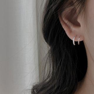 Rhinestone | Sterling | Earring | Silver | Hoop