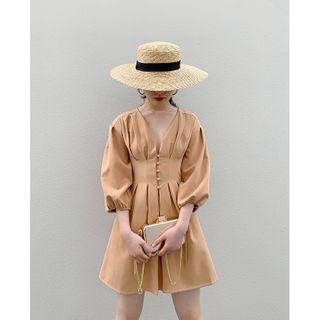 Image of 3/4-Sleeve Button Mini A-Line Dress