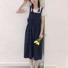 Set: Plaid Pinafore Midi Dress + Plain Short Sleeve T-Shirt 1596