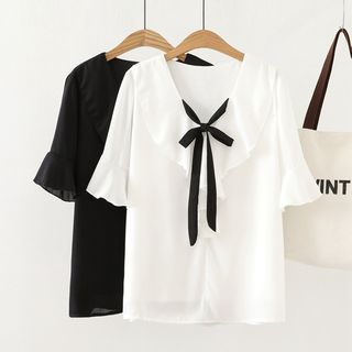 Image of Elbow-Sleeve Ribbon Neck Top