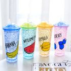 Print Plastic Cup with Straw 1596
