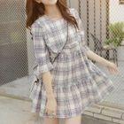 Plaid 3/4-Sleeve Mini Dress 1596
