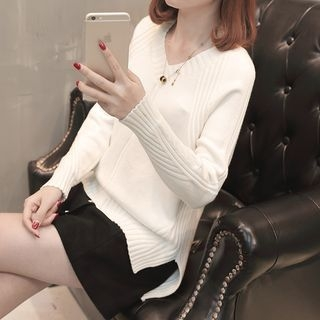V-Neck Rib Knit Sweater 1064531722