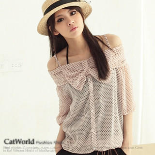 """Buy CatWorld Set: Off-Shoulder """"Bow"""" Chiffon Top + Camisole 1023027983"""