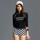 Letter Long-Sleeve 2-piece Swimsuit 1596