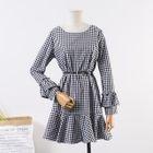 Plaid Long-Sleeve A-Line Dress 1596