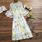 Long-Sleeve Floral Print A-Line Midi Dress 1596