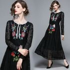 Embroidered Long-Sleeve A-Line Lace Dress 1596