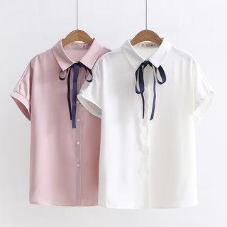 Ribbon Detail Short-Sleeve Shirt 1066281643