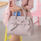Bow-Accent Quilted Satchel