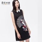 Embroidered Sleeveless Collared Dress 1596