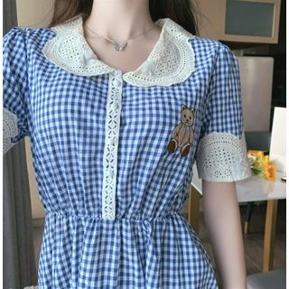 Image of Bear Check Short-Sleeve Dress