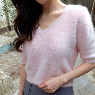 V-Neck Short-Sleeve Furry-Knit Top 1054803918
