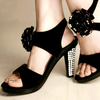 "Buy Kvoll Genuine Suede Rhinestone ""Corsage"" Sandals 1022653544"