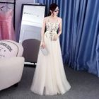 Sleeveless Embroidery Evening Gown 1596