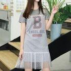 Set: Lettering Short-Sleeve T-Shirt Dress + Mesh Pinafore Dress 1596