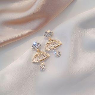 Rhinestone | Umbrella | Earring | Dangle | Cloud | Gold | Size | One