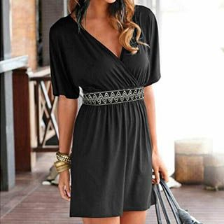 Short-Sleeve V-Neck Dress 1053006487