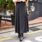 Band-Waist Ribbed Knit Maxi Skirt 1596