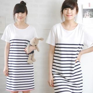 Buy VIPSGIRL Short-Sleeve Striped T-Shirt Dress 1022730610