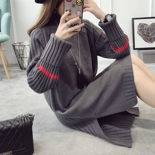 Ribbed Knit Side Slit Sweater Dress 1053091284