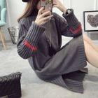 Ribbed Knit Side Slit Sweater Dress 1596