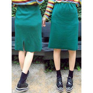 Band-Waist Ribbed Skirt 1051647354