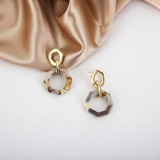 Image of Acrylic Hoop Earring 1 Pair - 925 Silver Earrings - One Size