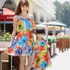 Family Frilled Floral Print Strappy Dress 1596