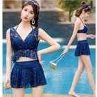 Set: Plain Bikini Top + Swim Skirt + Cover-Up 1596