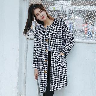 Houndstooth Long Woolen Coat 1054801269
