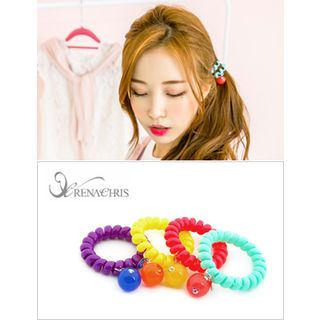 Bead-Accent Elastic Coiled Hair Tie 1044805264