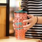 Printed Plastic Cup with Straw 1596