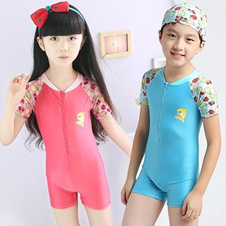 Printed Raglan Swim Bodysuit