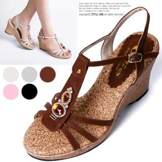 Buy STYLE LINE Jeweled T-Strap Platform Sandals 1022896260